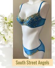 Victoria'S Secret Turquoise Vintage Bra & Sheer Panty Set ~ Size 36C / Large