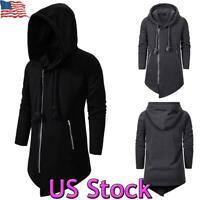 US Mens Punk Coat Slim Fit Jacket Hooded Sweatshirt Gothic Tuxedo Hoodie Outwear