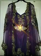 3PC. WOMAN'S FANCY WEDDING PURPLE DUBAI CRYSTALLIZED DRESS ABAYA KAFTON GOWN