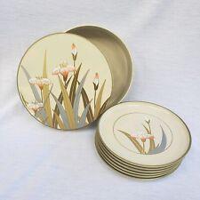 Vintage Otagiri Lacquerware Gold Iris Floral Coasters Set of 6 w Box