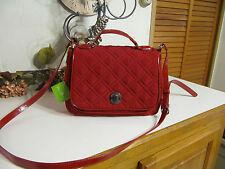 NWT Vera Bradley Turnlock Crossbody-Tango Red Microfiber Handbag w/ defect