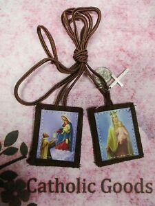 2 inch - Our Lady of Mt. Carmel + St. Simon of Stock  (A) - Brown Scapular - NEW