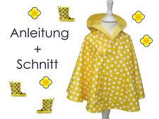 Schnitt + Nähanleitung Regencape Poncho Gr.62-140 als Ebook
