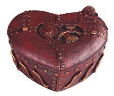 New Metallic Coper Color  Heart Shaped Steampunk Gears Trinket Box Jewelry Box