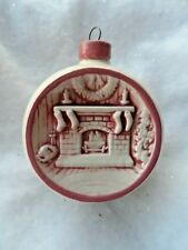 Vintage Porcelain Christmas Ornament - White Round w/Embossed Fireplace - Duncan