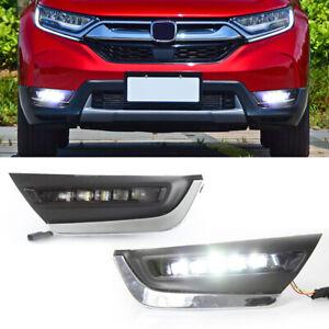 For Honda CR-V CRV 2017 2018 2019 DRL LED Daytime Running Light Bumper Fog Lamp