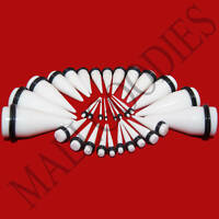 """V029 Acrylic White Stretchers Tapers Expander Ear Plugs 14G to 1"""" 3 Pairs Kit"""