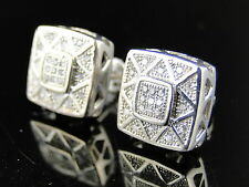 MENS/LADIES WHITE GOLD FINISH WHITE SIMULATED DIAMOND 12 MM PAVE SET EARRING
