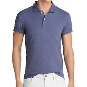 The Men's Store Bloomingdale's XXL Polo Shirt 100% Cotton Washed Blue Slub Knit