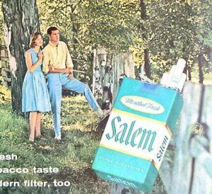 1960 Vintage Print Ad SALEM Menthol Cigarettes Rich Tobacco Tastes