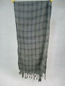 """Soap & Glory Black & White Check Pattern Scarf with Tassels 20"""" x 75"""""""