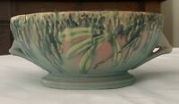Vintage Roseville Pottery Bowl w/handles - Green/Pink Moss Pattern 291-6
