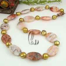 Au Seller Chic Genuine Natural Moss Agate with Pearls Necklace n136-5