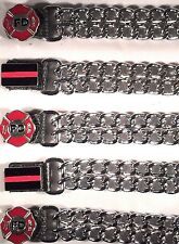 5 FIRE FIGHTER DIAMOND CUT CHROME CHAIN MOTORCYCLE BIKER VEST EXTENDERS USA MADE