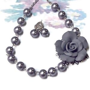 Necklace and earrings set Grey Rose and pearl, silver, clip on or pierced