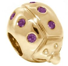 Lady Bug Real Amethyst 9k 9ct 375 Solid Gold Bead Charm Fit Euro Bracelets