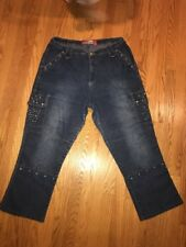 LAZER JEANS Riveted Plus Cotton & Ramie & Spandex Jeans Pants Womens Sz 20 #