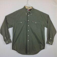 Vintage Tommy Hilfiger Canvas Shirt Mens XL Army Green Button Pockets