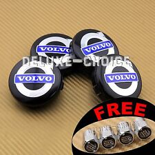 4 BLACK BLUE WHEEL RIM CENTER LOGO HUB CAP EMBLEM BADGE 64mm 3546923 FOR VOLVO
