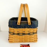 LONGABERGER 1998 Green Pantry Basket Double Handle #16420 Signed Liner Inv. #12