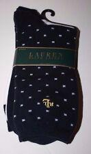 RALPH LAUREN 2 PACK NAVY & WHITE SQUARE DOT TROUSER SOCKS  -   Size 9-11