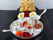 "New Metal Pooja Puja Aarti Thali Set Plate Worship Ritual, 8"""