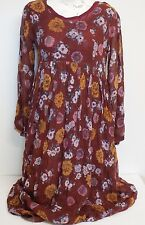 Papillon Long Brown Floral Vintage Dress with Shoulder Pads Size Small