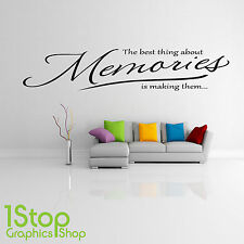 THE BEST THING ABOUT MEMORIES WALL STICKER QUOTE - BEDROOM WALL ART DECAL X163