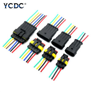 5Pcs Waterproof Car Electrical Connector Plug With Wire 18 AWG 1/2/3/4/5/6 Pin