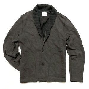 Billy Reid M Medium Cardigan Terry Jacket Sweater Cotton Blend Shawl Collar Mens