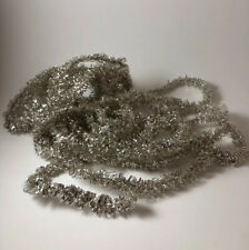 Vintage Shiny Silver Christmas Feather Tree Tinsel Garland 16.75' Feet Strand