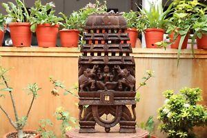 Lakshmi Statue Wooden Wall Panel Temple Sculpture Kavadi Vintage Home Decor Rare