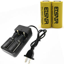 2x 26650 Li-ion Rechargeable Battery 12800mAh Flat Top 3.7V+  Smart Dual Charger