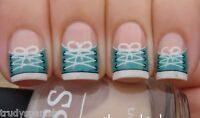 Nail art water decals transfers nail stickers denim zips Bows Moustache French