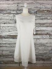 NWT Antonio Melani Womens Fit And Flare White Laser Cut Lyra Dress Size 12