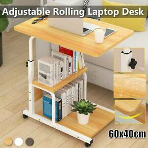 Rolling Laptop Sofa Desk Height Angle Adjustable Overbed Food Tray Table Stand