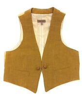 ROMEO GIGLI 90s Ochre Linen Cropped Vest Chinese Knot closure Cinch Back Sz 40