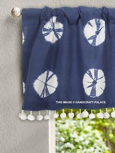 Indigo Bleu Teinture Coton Voile Cuisine Rideau Décor Indien Canne Poche Rideau