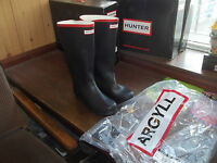 HUNTER WELLIES WELLINGTONS  IN HALIFAX ARGYLL BLACK/RED SIZE 9  FULL KNEE