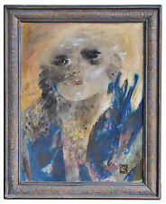 huile sur panneau portrait abstrait monogrammé S