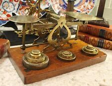 Antique English Brass & Oak Postal Scale 11 Weights Mordan & Co. London 19th C.