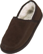 Mens - Ladies Suede Sheepskin Slipper with Lambswool Lining and EVA Sole