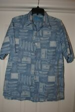 Tori Richard Hawaiian Shirt Mens Blue Boat Size L Casual Short Sleeve Made USA