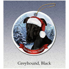 Greyhound Black Howliday Porcelain China Dog Christmas Ornament