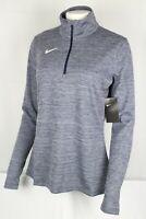 Nike Women's Dri Fit Half Zip Top Running Training Large Navy Blue 923261 420