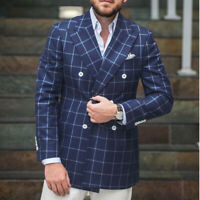 Men's Suit Plaid Windowpane Groom Wedding Peak Lapel Double-breasted Txuedos