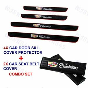 X4 Black Car Door Scuff Sill Panel Step Protector +SEAT BELT COVER For Cadillac