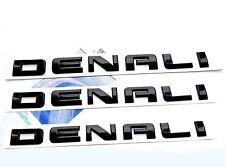 3x OEM Black Denali Nameplate EMBLEM for GM 01-17 Yukon Sierra HD Terrain EW 1FU