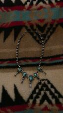 Sterling Silver Navajo Necklace Squash Blossom Old Pawn