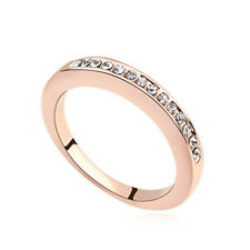 18K Rose Gold Simulated Diamond Ring Eternity Bands for Women in 4 Sizes – Add a